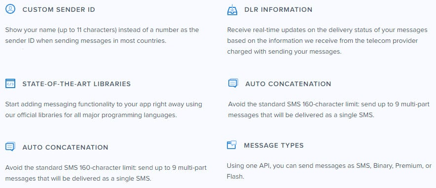 Message Bird SMS Gateway Features