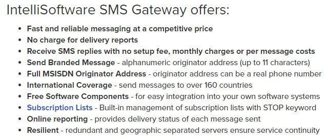 IntelliSMS Gateway Features